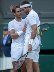 Rafael Nadal and Juan Martin Del Potro after their