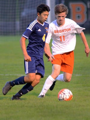 Ben Martin (4) scored the game's only goal in Hartland's 1-0 victory over Northville.