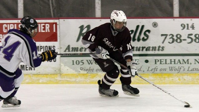 Scardale's James Nicholas (16) gains control of the puck over New Rochelle's Joey Ramondelli (14) during a hockey game at the Ice  Hutch in Mount Vernon on Dec. 20, 2012.