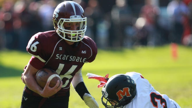 Scarsdale's James Nicholas shakes Mamaroneck's Bowen Colon to push the ball up the field during the Class AA quarterfinal Oct. 25 at Scarsdale High.