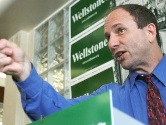 Sen. Paul Wellstone (D-Minn.) makes a point during a campaign speech on Sept. 20, 2002, five weeks before his death in a plane crash.