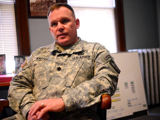 Lt. Col. Tim Knoth, commander of the UVM ROTC cadet