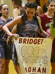 Morristown-Beard junior guard Bridget Monaghan hit her 1,000th career point during a NJAC-Liberty girls basketball game at Dover.  January 3, 2018. Dover, NJ.
