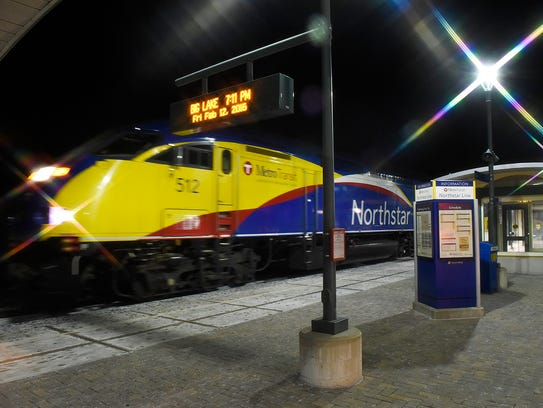The Northstar commuter train pulls into the Big Lake