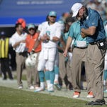 FILE - In this Oct. 26, 2014, file photo, Miami Dolphins head coach Joe Philbin reacts to a play during the second half an NFL football game against the Jacksonville Jaguars in Jacksonville, Fla. Philbin was fired Monday, Oct. 5, 2015, four games into his fourth season as coach of the Dolphins, and one day after a flop on an international stage that apparently sealed his fate. (AP Photo/Phelan M. Ebenhack, File)
