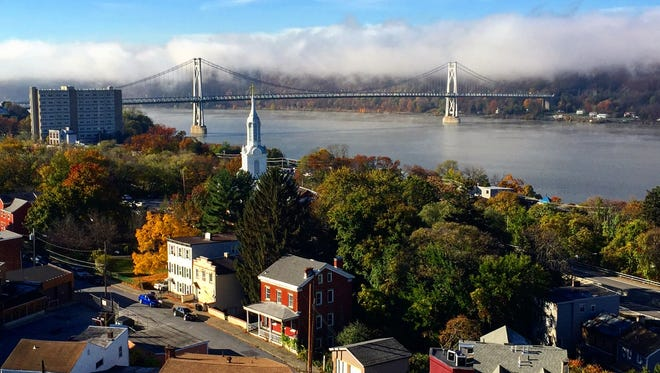 View of downtown Poughkeepsie. Carrie Yale/ The journal news Walkway Over The Hudson view in Poughkeepsie.