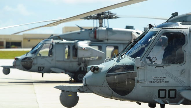 Navy's Island Knights Helicopter Sea Combat 25 Squadron helicopter photographed on the flightline at Andersen Air Force Base on April 17, 2015.