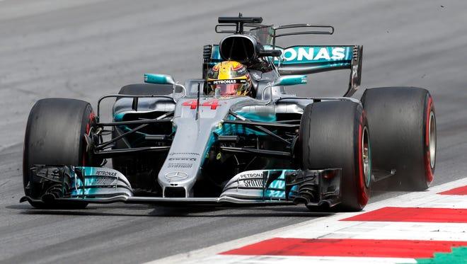 Mercedes driver Lewis Hamilton of Britain steers his car during the Austrian Grand Prix.