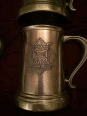 A pewter beer mug that Eddie Kasko received for playing