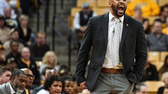 Jan 7, 2020; Columbia, Missouri, USA; Missouri Tigers head coach Cuonzo Martin calls a play during the first half against the Tennessee Volunteers at Mizzou Arena. Mandatory Credit: Jay Biggerstaff-USA TODAY Sports