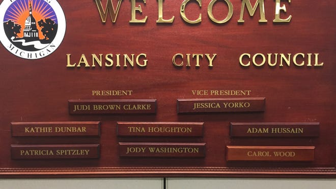 The Lansing City Council will meet 5:30 p.m. Monday -- the fourth time since Jan. 9 -- to try and select it's new leadership. This sign currently posted at City Hall shows the leadership structure in place last year.