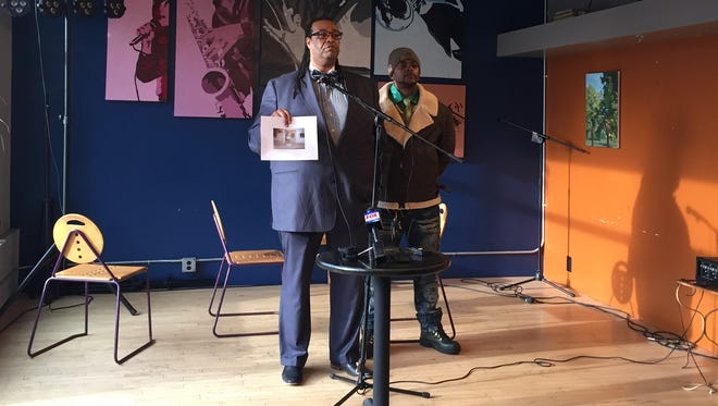 City Council Vice President Adam McFadden kicked off his congressional campaign Friday at Brue Coffee, standing with his younger brother Paul McFadden.