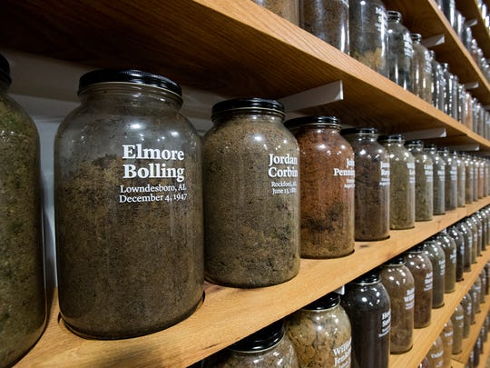 The jar containing the soil from the Elmore Bolling lynching site is among those on display at the Equal Justice Initiative offices in Montgomery, Ala.