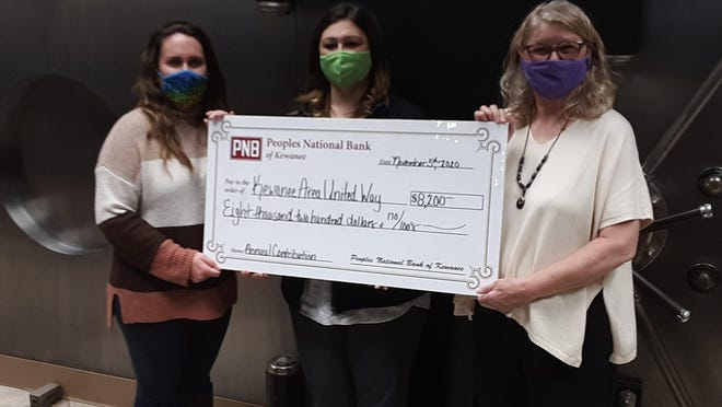 Peoples National Bank Marketing Coordinator Rachel Price (left) presents PNB's annual contribution to Kewanee Area United Way representatives Darcy James, center, and Nancy Sutton.