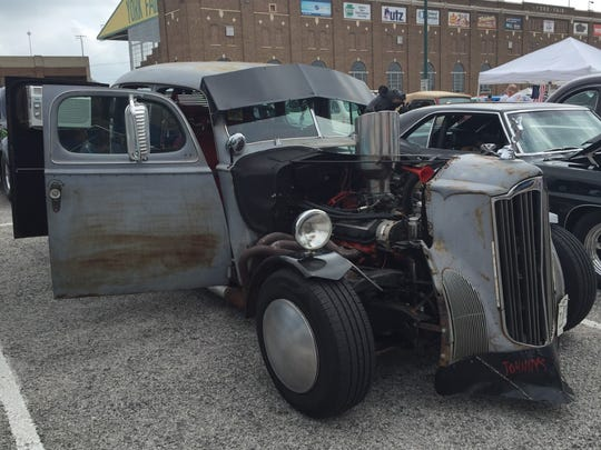 Johnny Brooks, 81, of Prince Frederick Md., made this rat rod using parts from 16 cars, two motorcycles and a boat.