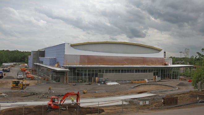 A view of RIT's new hockey rink, the Gene Polisseni Center, in June. The arena will be dedicated on Thursday night.