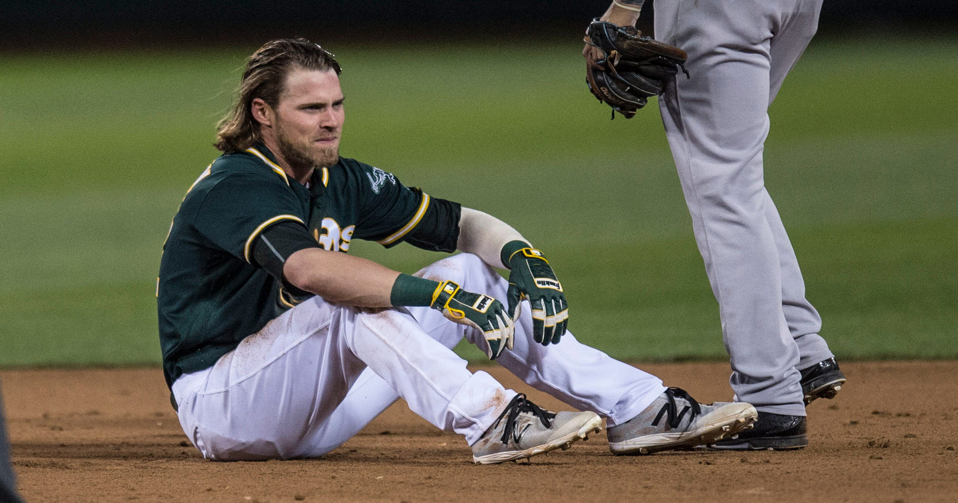 759b4777f55 Josh Reddick fractures thumb in A s loss to Yankees