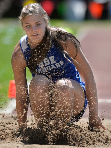 Belgrade-Brooten-Elrosa's Kinlee Swanson splashes down in the girls long jump Wednesday, May 28 during the Sect. 5A track meet at St. John's University. The jump was a scratch but she won the event anyway.
