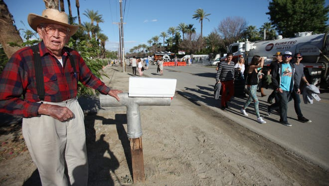Indio resident Roy Salazar, 100, talks about living on 50th Avenue just across the street from the VIP entrance to the Coachella Valley Music and Arts Festival at the Empire Polo Fields in this file photo taken on Saturday, April 14, 2012 in Indio, Calif.