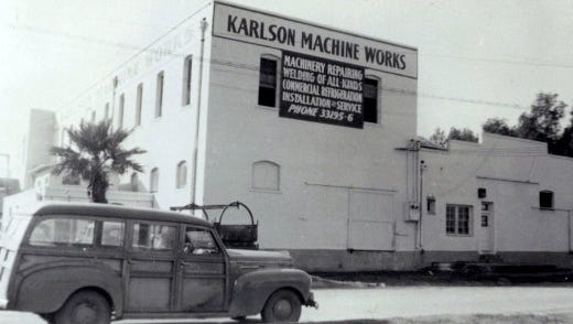 Southwest Cotton Co./Karlson Machine Works (1918)   606 E. Grant St.   Karlson Machine Works is shown in the 1940s.  In July 2012, the Phoenix City Council granted $200,000 in Phoenix historic-preservation funds and downtown reinvestment funds to Levine Machine LLC for preservation and restoration of the Southwest Cotton Company/Karlson Machine Works building in the city's historic warehouse district, south of US Airways Center.