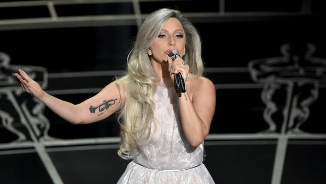 Lady Gaga performs at the Oscars on Sunday, Feb. 22, 2015, at the Dolby Theatre in Los Angeles.