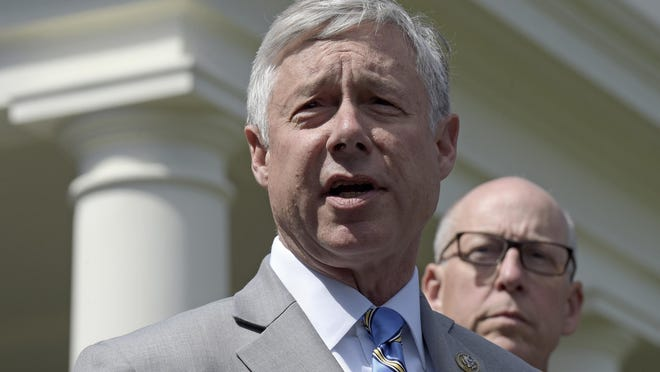 In this May 3, 2017, file photo, Rep. Fred Upton, R-Mich., left, speaks to reporters outside the White House in Washington. Upton defeated primary challenger Elena Oelke on Tuesday, Aug. 4, and will face Democratic nominee Jon Hoadley in November.