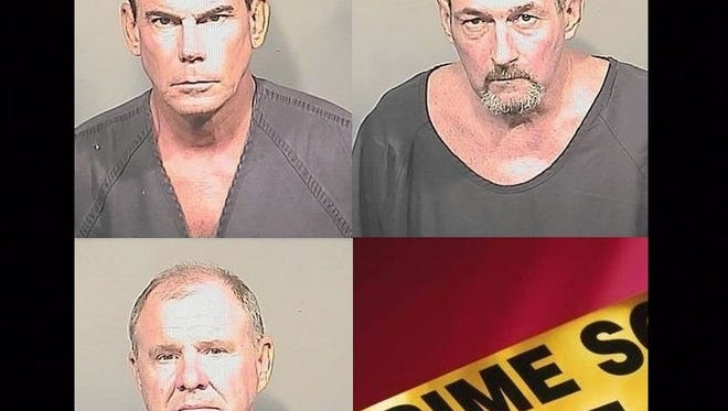(Clockwise from top left) Timothy Kevin Harris, 55, Edward Keefer, 52, and Charles Thomas Tarantola, 61, were arrested and accused of lewd acts Wednesday at Surfs Up Adult Outlet in Cocoa Beach during an undercover operation by Brevard County Sheriff's Office.