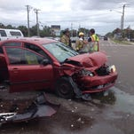 Two people were seriously injured in a crash on Pineda Causeway at Wickham Road Sunday afternoon.