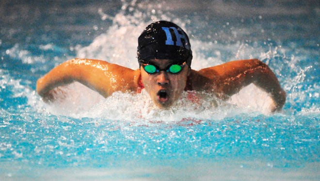Immaculate Heart's Kristina Organista competes in the 100m butterfly at the Bridgewater YMCA on Jan. 19, 2017.