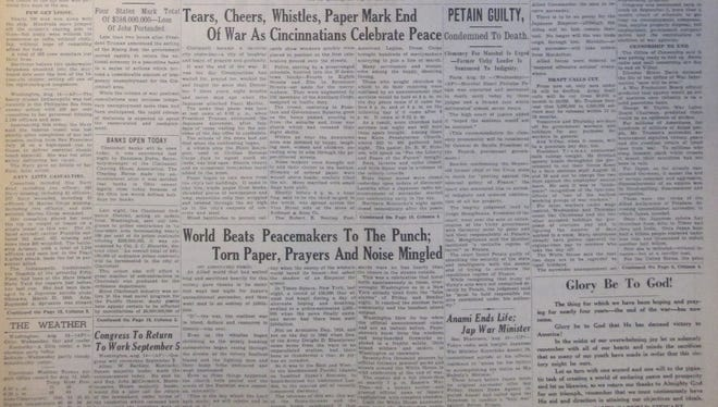Front page of The Cincinnati Enquirer for August 15, 1945, announcing the end of World War II.