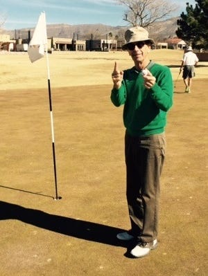 """Playing golf since he was 8 years old, Tony Clendenin, 72, thought he would never achieve his golfer's dream of a hole-in-one. On Jan. 21 he used an """"easy"""" 7 iron to reach the 124 yard placement on hole number 4. Witnessed by Doug Cowley, Cleve Kurz and Ron Moncrief."""
