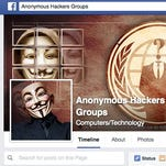 A screen shot of the hacking group Anonymous' Facebook page.