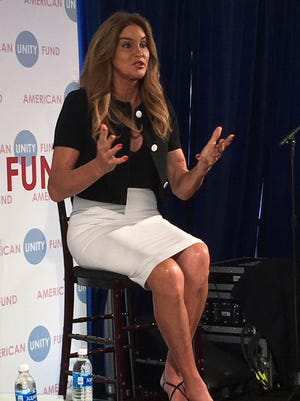 Caitlyn Jenner speaks at the Big Tent Brunch in Cleveland during the Republican National Convention.