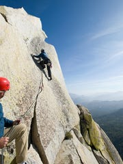 Matthew Fienup climbs Charlatan Needle at Giant Sequoia
