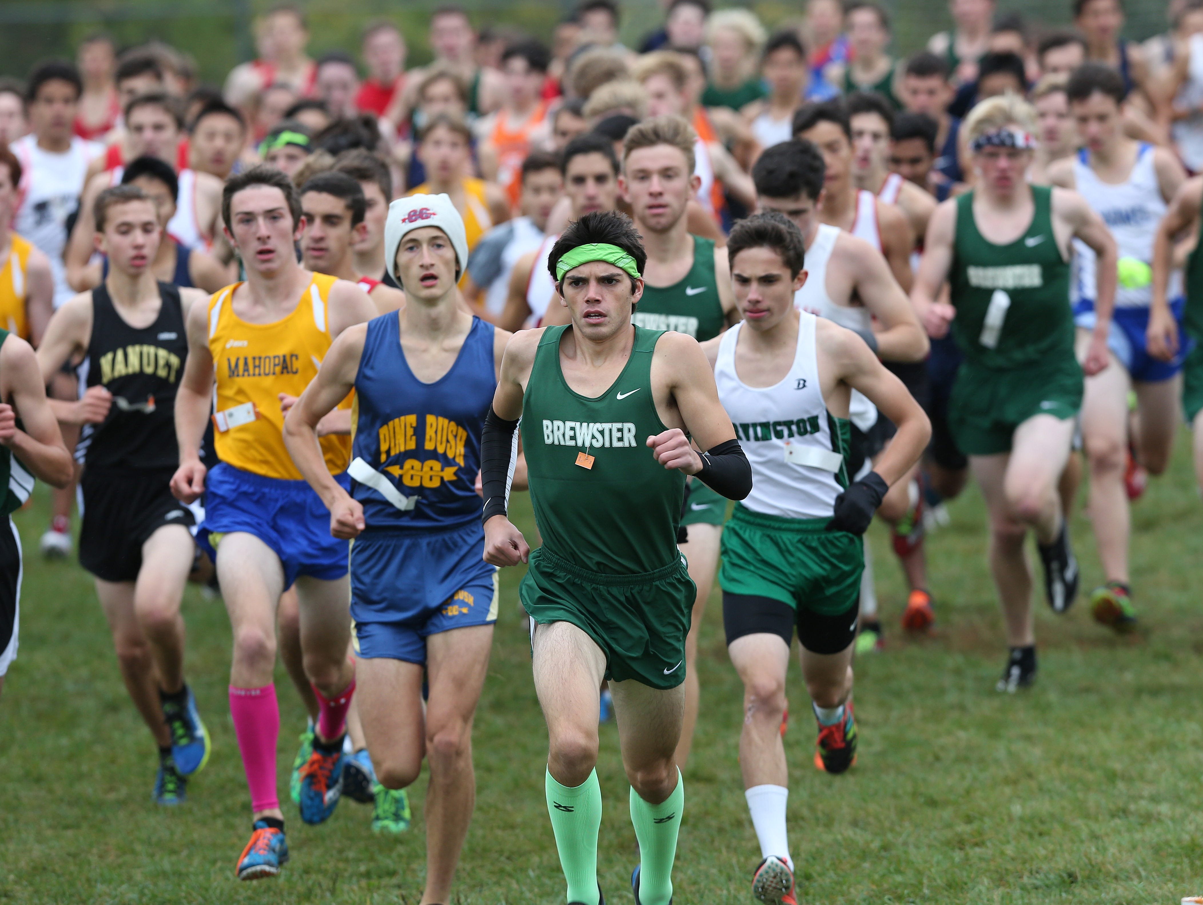 Brewster's Kevin Hazelwood leads the pack at the start of the boys D 2 variety race during the 38th annual Brewster Bear Classic Cross Country Invitational at Brewster High School Oct. 3, 2015. Hazelwood won the race.