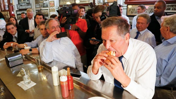 John Kasich made a name for himself eating his way across New York ahead of its Republican primary. While New Yorkers were voting Tuesday, Kasich started in on the next state, Pennsylvania, with a fish sandwich at the Original Oyster House restaurant in downtown Pittsburgh.