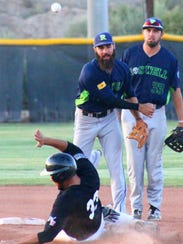 Roswell shortstop Louie Martini tries to turn a double