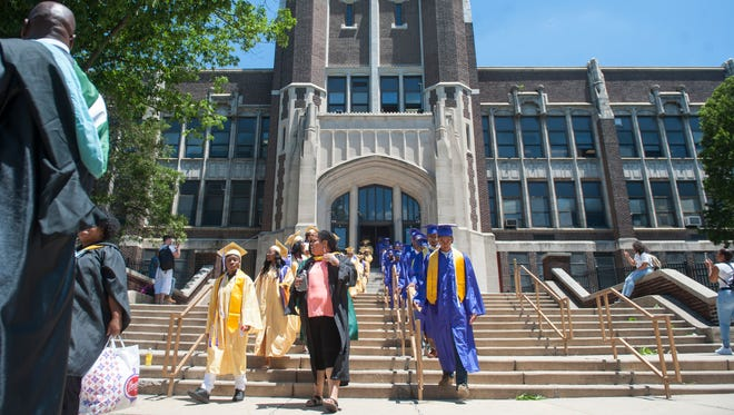 Members of Camden High School's Class of 2017 make the final traditional commencement march from the 'Castle on the Hill' to the school's football stadium located in Camden's Farnham Park.   The iconic high school is set to be demolished in the fall.  06.20.17