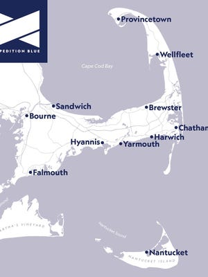 Regional map that shows the breadth of the Expedition Blue network throughout the Cape Cod region.