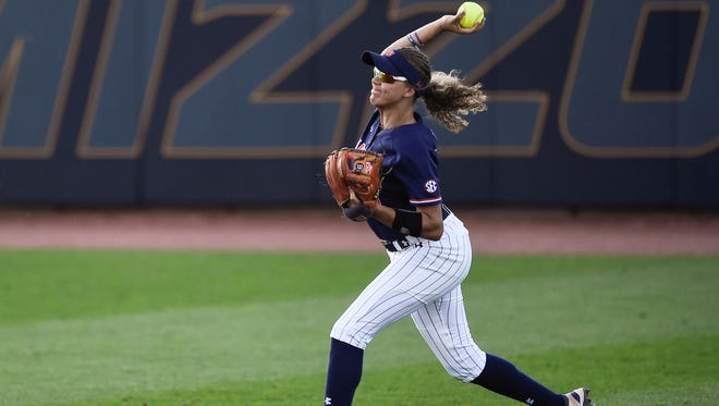 Alyssa Rivera (21)  makes a throw during the Tigers' 6-4 loss to Alabama in the SEC softball tournament on May 9.