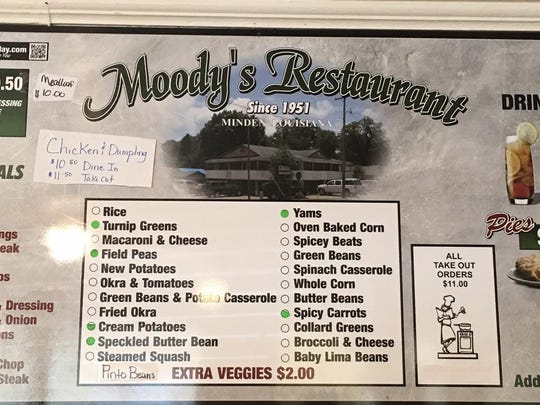 There are no menus at Moody's, but various colored dots on one large wallboard of items alert diners to what's cooking that day.