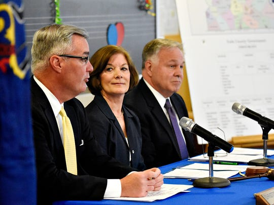 In this file photo, York County commissioners, from left, Chris Reilly, Susan Byrnes and Doug Hoke hold their weekly meeting at William Penn Senior High School in York City, Wednesday, April 20, 2016. Dawn J. Sagert photo
