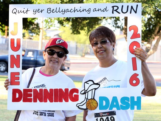 Yolanda Castro, left, poses with Carmen Denning before the start of the second annual Denning Dash 5K on June 18 at Eastwood Park
