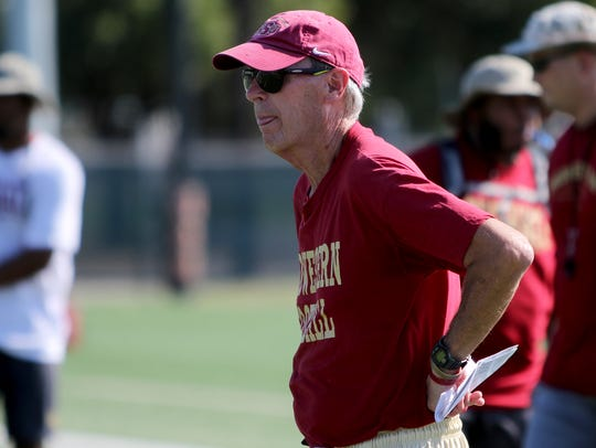Midwestern State head football coach Bill Maskill watches