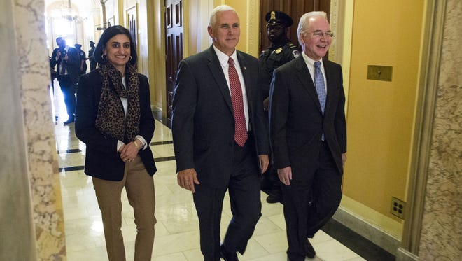 CMS Administrator Seema Verma, Vice President Mike Pence and Secretary of Health and Human Services Tom Price leave a meeting on Capitol Hill May 3, 2017 in Washington, DC. Vice President Pence met with House Republicans to lobby for health care legislation, as the House passed a spending bill to keep the government running.