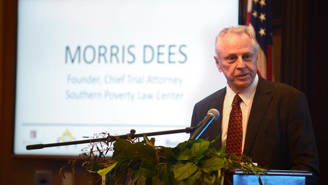 Morris Dees speaks during the Montgomery Advertiser 50th Anniversary of the Selma to Montgomery March Celebration at the Capitol City Club in Montgomery, Ala. on Tuesday March 10, 2015.