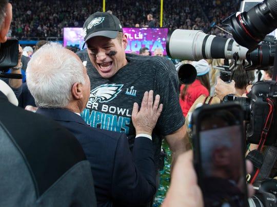 The Eagles Brent Celek celebrates winning Super Bowl LII Sunday at US Bank Stadium.
