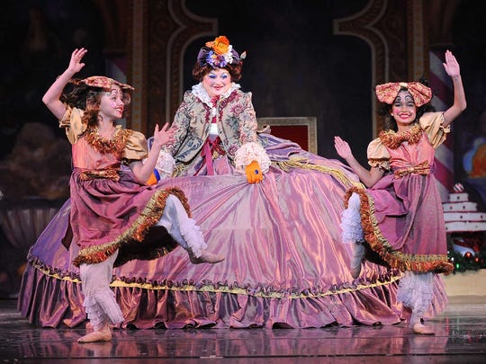 "Mother Ginger and her children in ""The Nutcracker."""