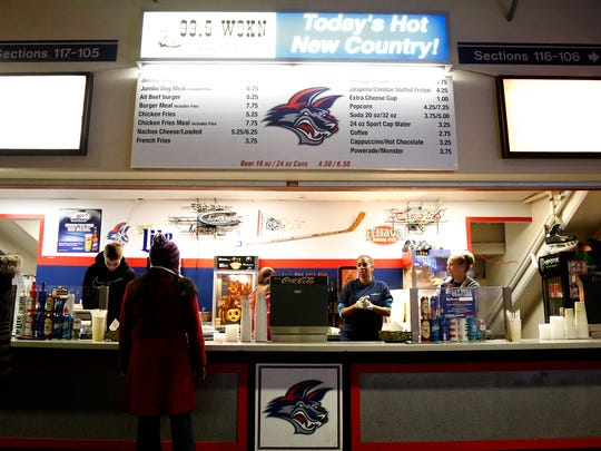 Concession stands inside First Arena remain relatively quiet in the first half of the Elmira Jackals game on March 15.
