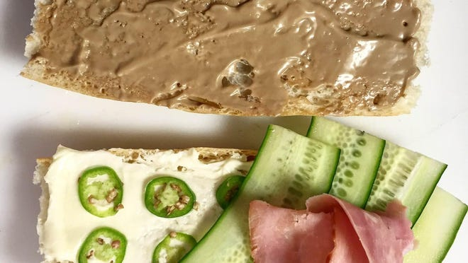 Lydia House's ham sandwich with butter, Serrano peppers, cucumber and red eye mayo.